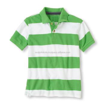 Boys Green And White Striped Polo Shirt - Buy Polo Shirt Design ...