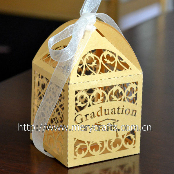 "Mery custom wholesale and retailing party decoration laser cut ""filigree"" gold party favors box"