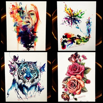 WaterColor Compass Temporary Tattoo Stickers Flying Birds Waterproof Tattoo For Women Body Art Arm Colored Flash Tatoo Leg Neck