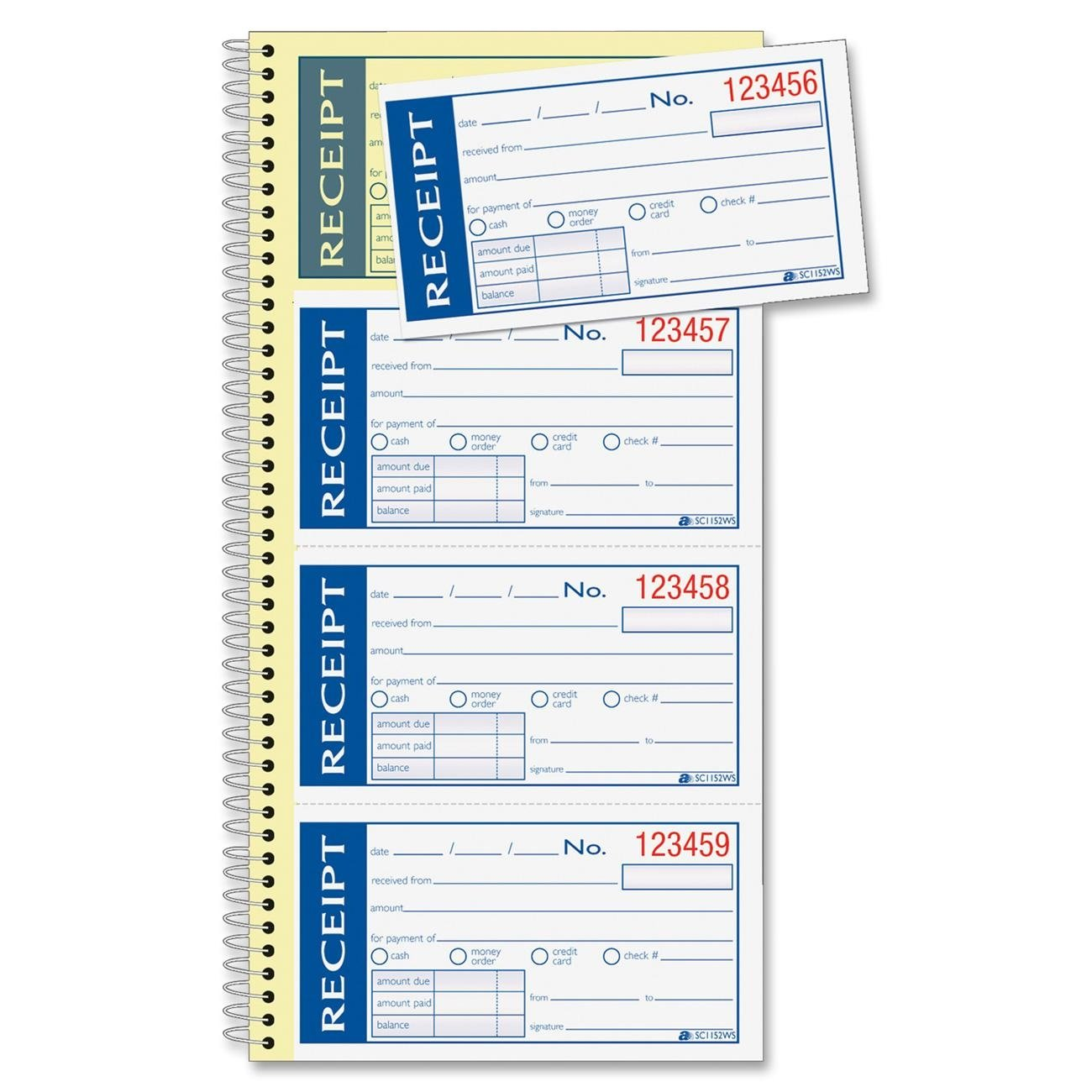 """Adams Write n' Stick Receipt Book, 2-Part, Carbonless, White/Canary, 5-1/4"""" x 11"""", Spiral Bound, 200 Sets per Book, 4 Receipts per Page (SC1152WS)"""