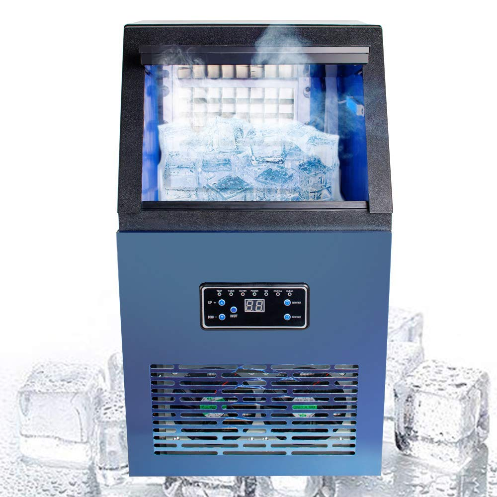 Genmine Commercial Ice Cube Maker Auto Ice Making Machine Stainless Steel Auto Commercial Ice Maker Cube Machine 50KG Stainless Steel Bar 230W 110V