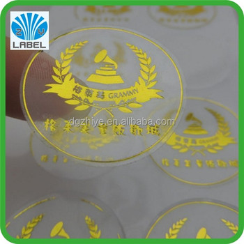 Custom Gold Foil Hot Stamping Transparent Vinyl Bopp Label - Custom gold foil stickers