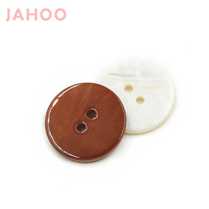 White And Brown Color 2 Holes Smooth Glossy Shell Buttons For Coat