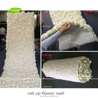 GNW FLW1606012-CL Flowers Wall Wedding Decor Artificial White Hydrangea Rose Customized Size