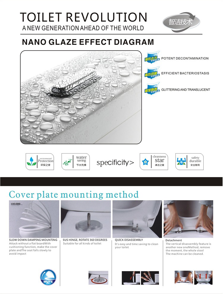 China Cheap Nano-glazed Bathroom Ceramic Rimless Washdown Two Piece Toilet