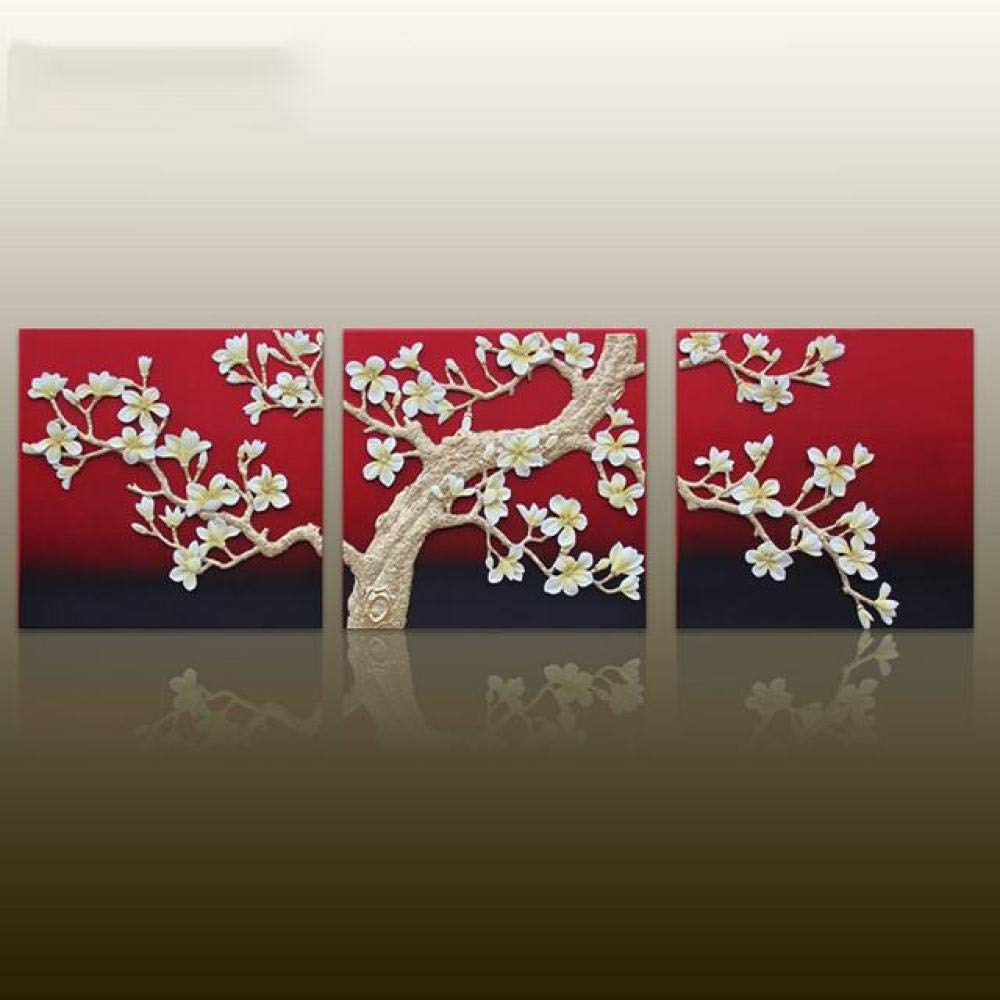 PLLP Triple Relief Embossed Painting, Embossed Wall Decoration - Home Frameless Decorative Wall Painting, Living Room Sofa Background Wall Hanging, Handmade Solid Wall Hanging Mural,As Show,6060cm