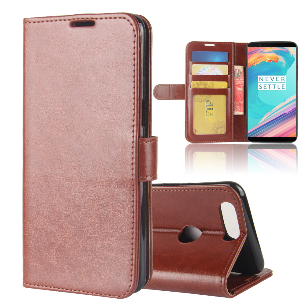 Leather Magnetic Stand Folio Wallet Flip Cover Case For Oneplus 5T Crazy Horse Pouch