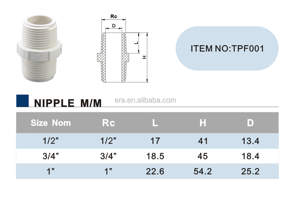 ERA High Quality BS Standard PVC Pressure Hydraulic Pipe Fitting Thread Nipple