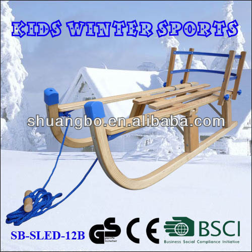Kids Outdoor Wooden Folding Snow Sledge 110Cm with Backrest (SB-Sled-12B)