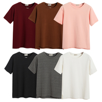 Women high quality t shirt plain blank t shirt any color available t shirt with side split