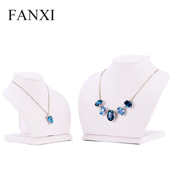Fanxi New Custom Trade Show Necklace Hanger Jewelry Mannequin Wooden Standing Bust White Pu Leather Display