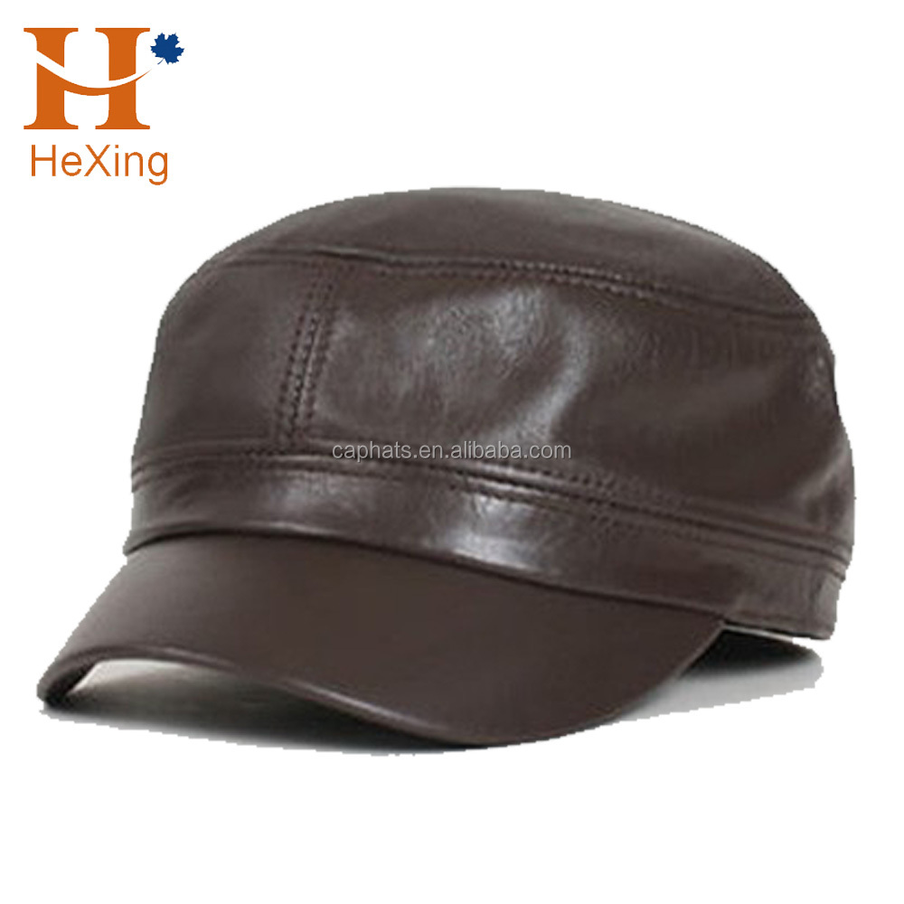 High quality custom leather biker hat blank military cap with embroidery  logo 7d8b673dfaf