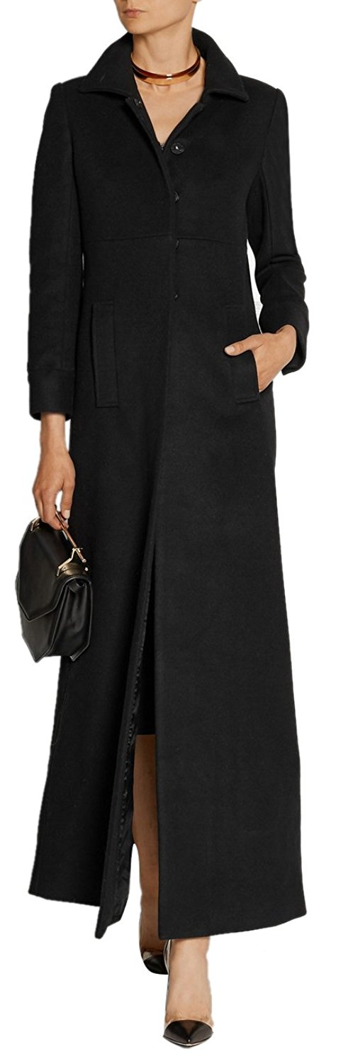 b10ebdb80bc8f GESELLIE Women s Vintage Black Single Breasted Outwear Lapel Thick Full-Length  Wool Pea Coat
