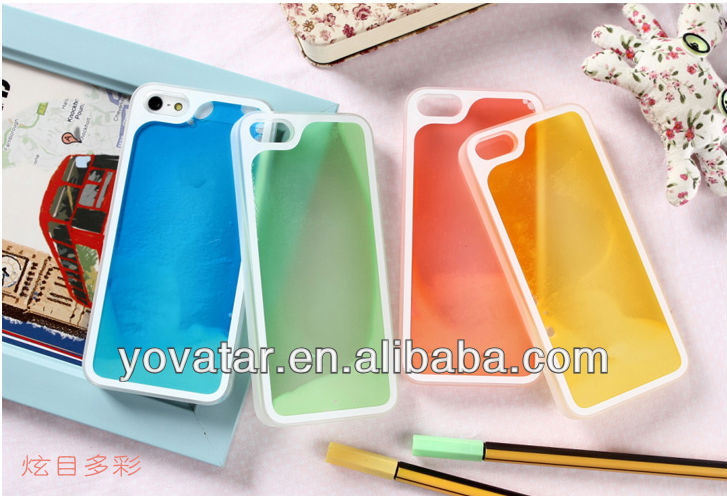 NEW Noctilucent Luminous Liquid quicksand Tpu With PC Case Cover For Apple iPhone 5 5th Gen Multi Colors