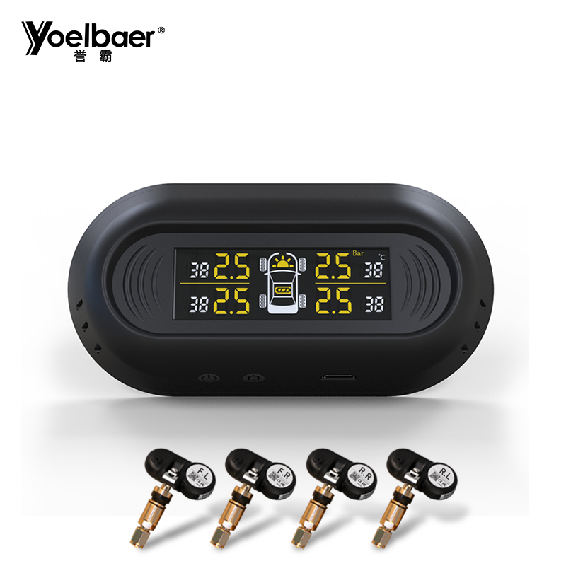 Yoelbaer Solar Energy LCD Display 4 Internal Sensor Car Auto Alarm System Diagnostic tool TPMS