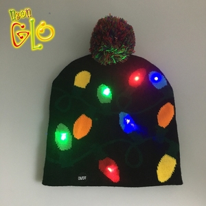 Glowing Party Novelties LED Christmas Beanie