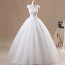 Vestidos De Novia Wedding Dress 2016 Hot Sale Sweetangel Sexy V-Neck Flower Wedding Dress Elegant White Princess Wedding Dress