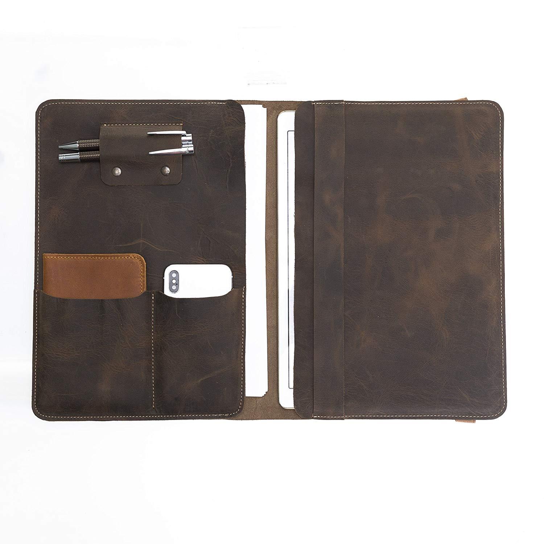 Dark Brown Leather Handmade Portfolio, Leather Organizer, Dark Brown Leather Document Holder,Leather Document Holder,Business Leather Folder