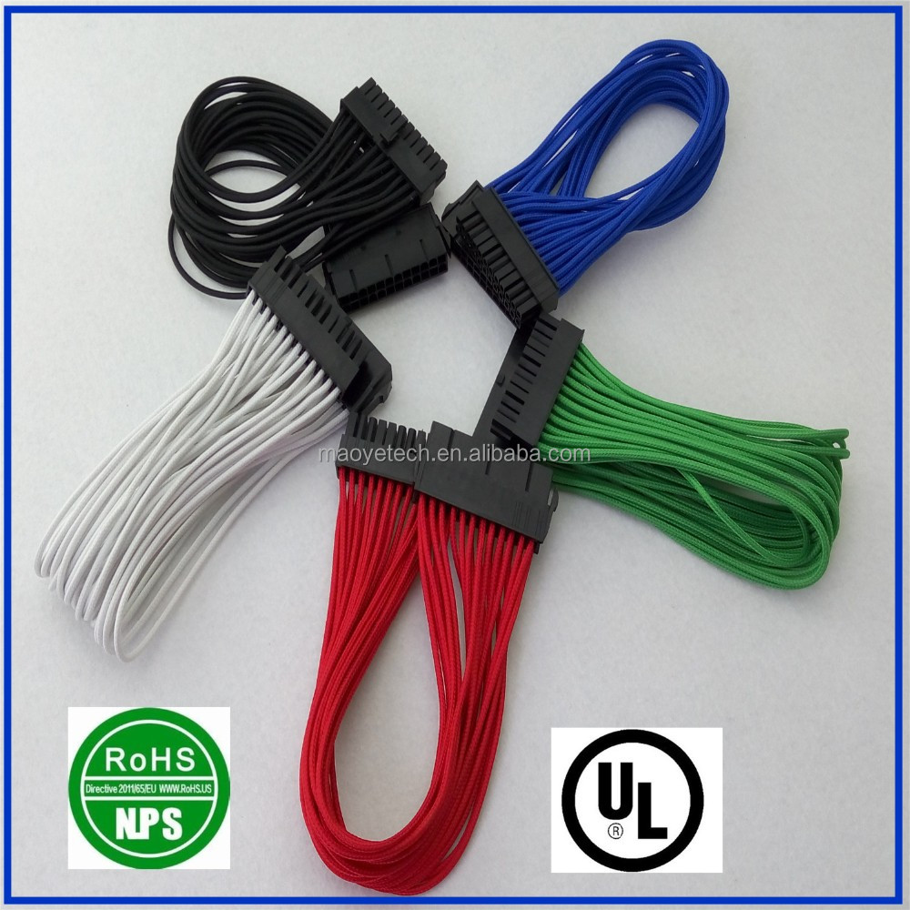 24pin male to 24pin female ATX power extension cable with colorful sleeve