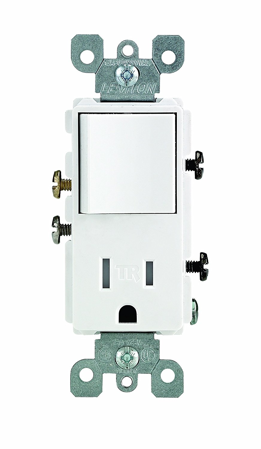 Leviton T5625-E Decora Combination Switch and Tamper-Resistant Receptacle Black