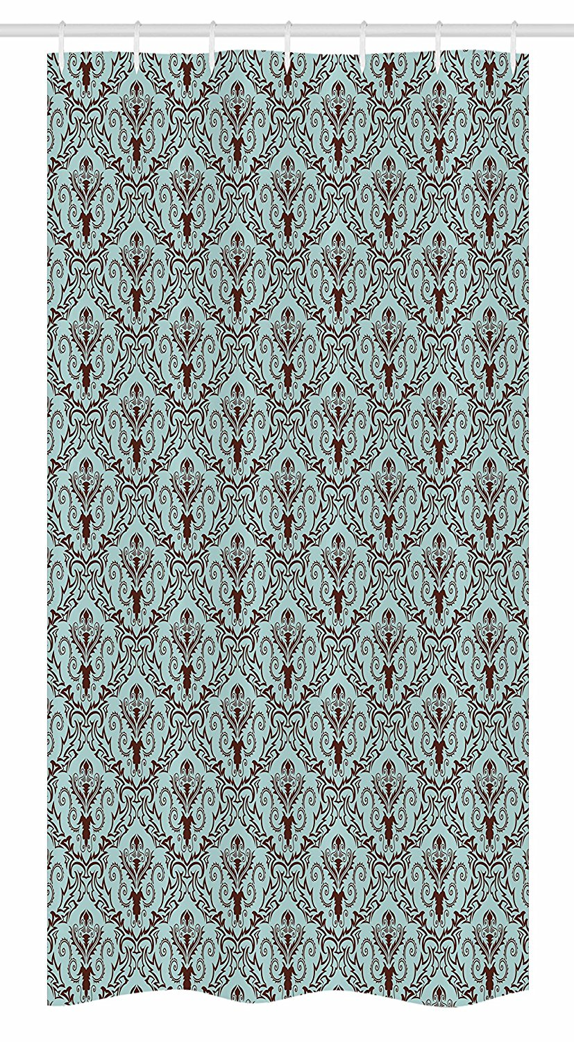 Ambesonne Damask Stall Shower Curtain by, Classic Design Style Leaves Foliage with Damask Pattern Curvy Lines Ornate, Fabric Bathroom Decor Set with Hooks, 36 W x 72 L Inches, Turquoise Brown