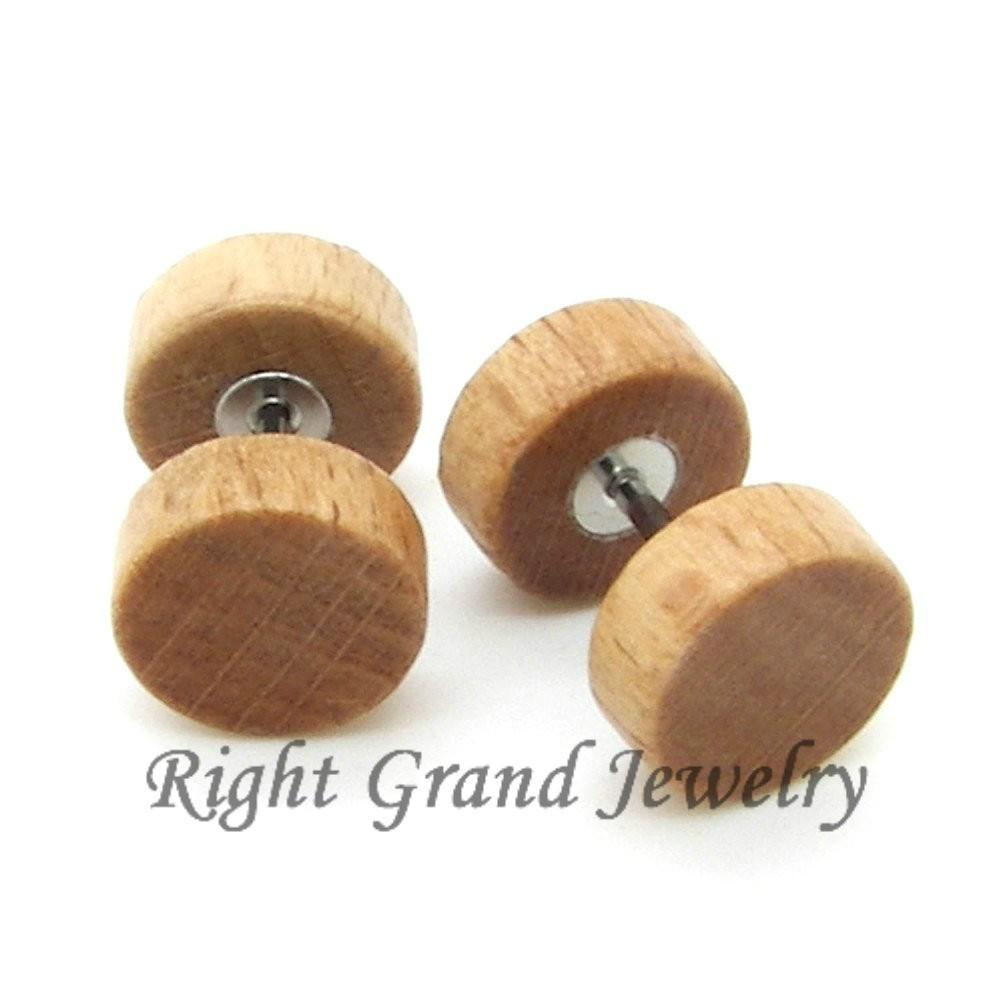 12mm organische piercing nep stekker oor bruine kleur hout-lichaam ...