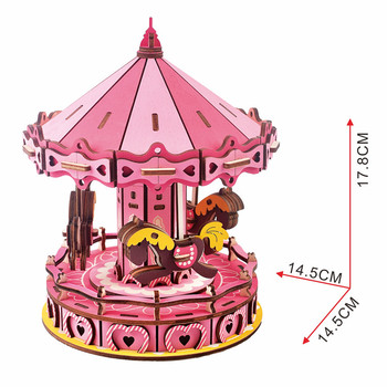 3D Wooden Puzzle, Merry-Go-Round 3D Jigsaw Puzzle Wooden Craft Kit Christmas Birthday Gift for Teens and Adults