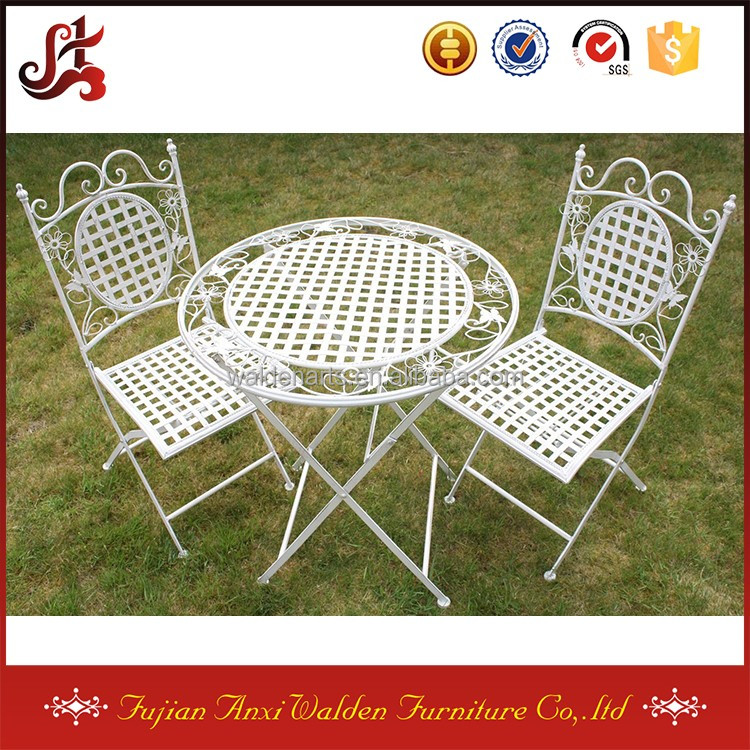 White Round Metal Floral Designed Folding Outdoor Garden Patio Table with Two Square Chairs Bistro Set