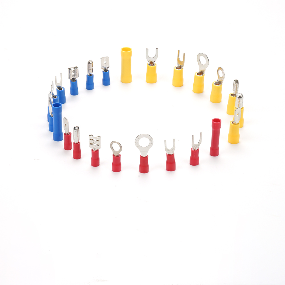 225pcs brass Cable Lug electrical wire Connector Set flat and  round Tin Copper Insulated Terminals