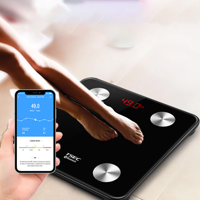 Treading 2020 USB Charging Electronic Body Fat Analyzer Digital Bluetooth Weighing Bathroom Connected Scale 180kg