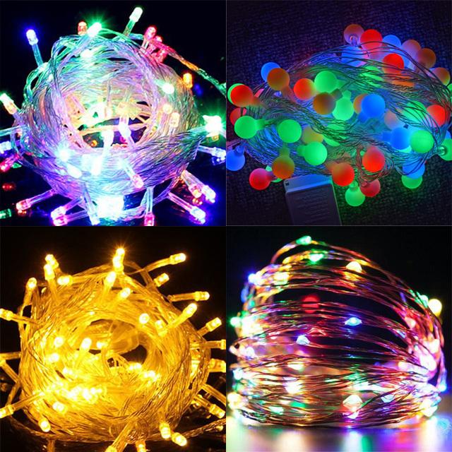high quality fairy led string lights 110v 220v christmas lighting decorative red bule white warm white