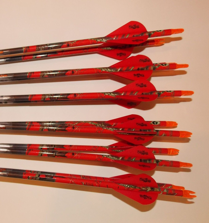 Beman ICS Bowhunter 340 Carbon Arrows w/Blazer Vanes Mossy Oak Wraps 1 Dz.