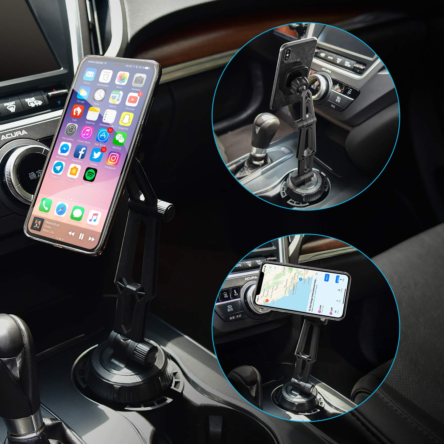Safe driving telescopic arm magnetic suction cup holder phone mount for tablet gps