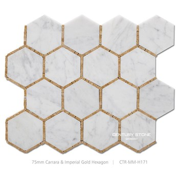 3 Inch Hexagon Carrara White Mix Imperial Gold Dot Honeycomb Mosaic