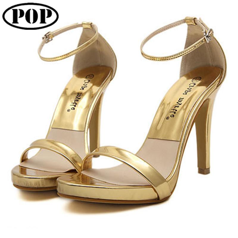 866648ffe089 Get Quotations · 2015 Summer Rome Women Sandals Brand Design Fashion High  Heels Anlke Strap Sandal Luxcury Gold Silver