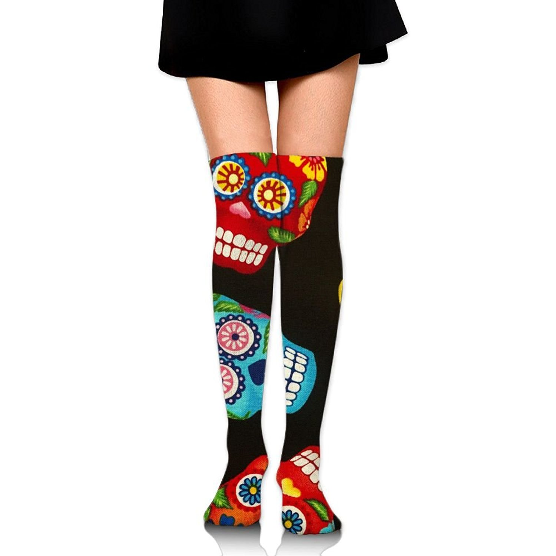 Zaqxsw Skull Women Cool Thigh High Socks Cotton Socks For Teen Girls