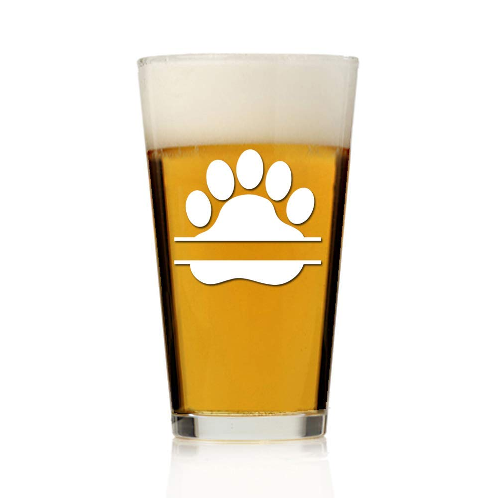 Personalized Dog Paw Print Pint Beer Glass 16oz - Engraved Pint Beer Glass Gift