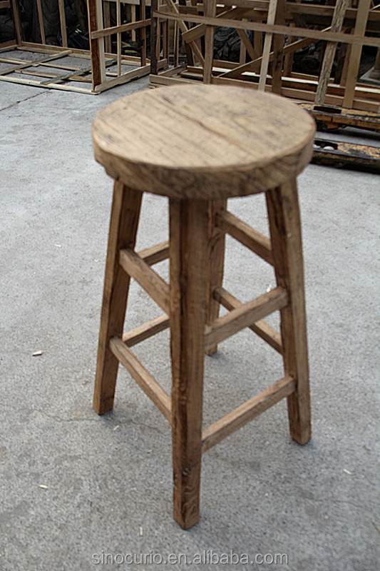 Vintage Antique Recycle Solid Wood Bar Stool Stools High End Wooden Product On
