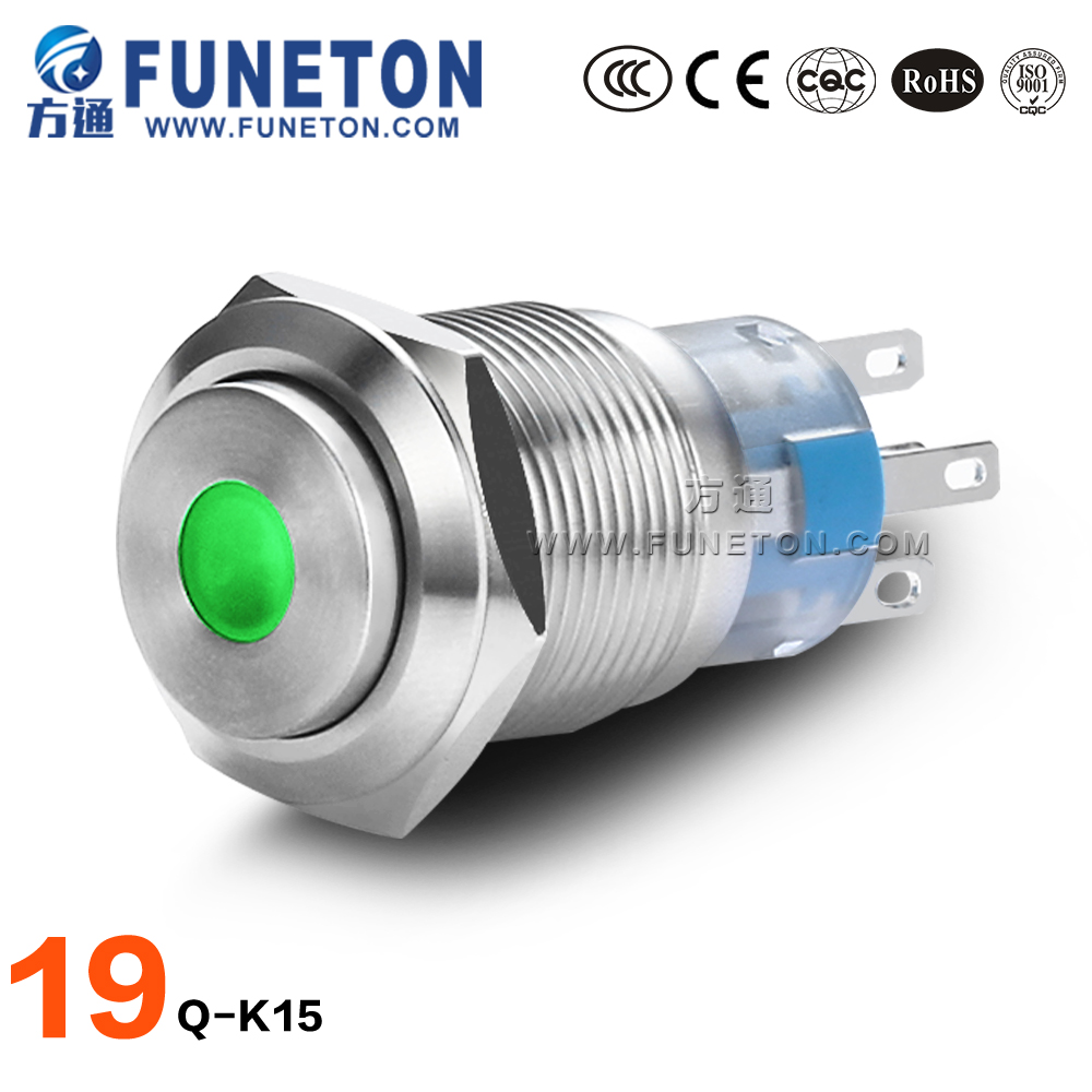 Electrical Equipment Dot-illumination switch, 19mm metal push button switch