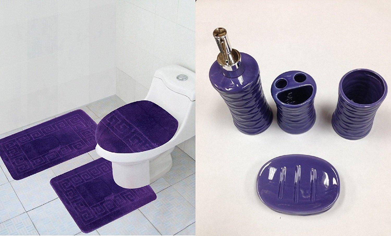 Get quotations · 7 piece bath accessory set purple bathroom rugs contour mat ceramic accessories