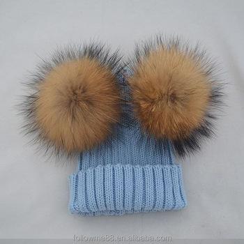 Kids Knitted Winter Hat Cap Double Raccoon Fur Pom Poms Warm Children Hat 7beaf3ad4c3