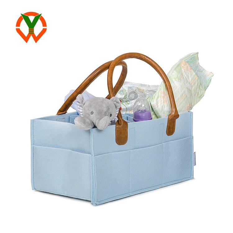 Hot Sale Wipes Felt Pu Handle Mummy Nursery Storage Baby Shower