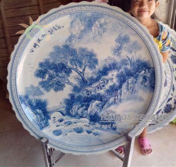 Unique Oriental Hand Painted 3 Feet Large Decorative Ceramic Porcelain Plates With Stand & Unique Oriental Hand Painted 3 Feet Large Decorative Ceramic ...