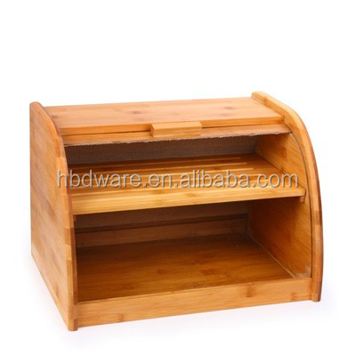 Bamboo 2 Tier Tall Bread Box And Bin Loaf Storage Container Or Retro Bread  Bin And