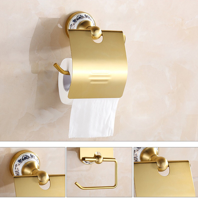 Hohe Qualität Modernes Design Aluminium Gold Farbe Poliert  Toilettenpapierhalter