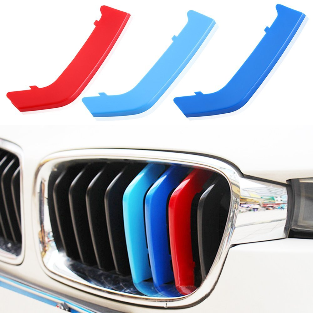 AndyGo Exact Fit ///M-Colored Grille Insert Trims For BMW F30 F31 3 Series 320i 328d 328i 335i M-Performance Black Kidney Grilles (8 Beams), Not For The 11-Beam Standard Grille
