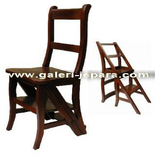 Antique Reproduction Furniture - Library Chair Step - Mahogany ...