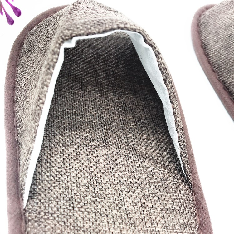 Disposable open toe linen cloth soft eva hotel slipper