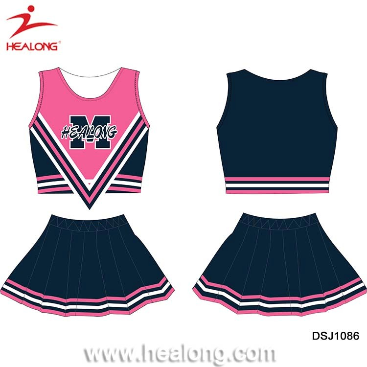 Healong Sublimated Printed Uniformes Cheerleading Pink