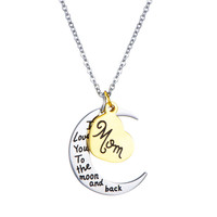 Heart Pendant Stainless Steel Necklace Jewelry I love you to the Moon Back letter Mom Necklaces for women Mother Day Gift